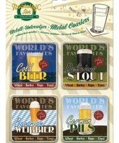 Vintage stijl biertjes onderzetters 9 x 9 cm trend