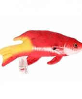 Vis knuffeltje rood geel 21 cm met kraalogen trend