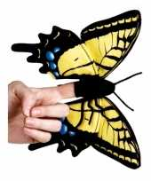 Vlinder knuffeltje geel 22 cm met kraalogen trend