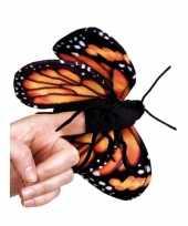 Vlinder knuffeltje oranje 22 cm met kraalogen trend