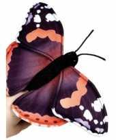 Vlinder knuffeltje zwart 22 cm met kraalogen trend