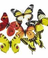 Vlinder magneetje geel oranje 13 5 cm trend