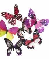 Vlinder magneetje roze paars 13 5 cm trend