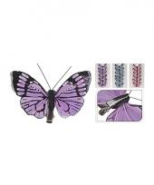 Vlinder op clip 6 stuks blauw trend