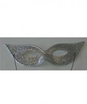 Vlindervorm oogmasker met zilverkleurige glitters trend