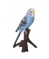 Vogel tuindecoratie beeldje blauwe parkiet 16 cm trend
