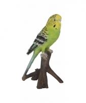 Vogel tuindecoratie beeldje groene parkiet 16 cm trend
