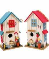 Vogelhuisje set van 2 rood en blauw trend