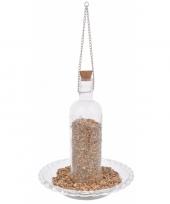 Vogelvoer decoratie fles van glas 20 cm trend