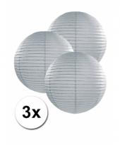 Voordeelverpakking met 3 grijze lampionnen 25 cm trend