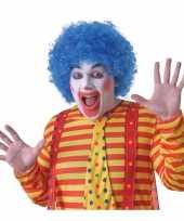 Voordelige blauwe clownspruik voor volwassenen trend