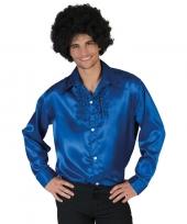 Voordelige blauwe rouche blouse voor heren trend