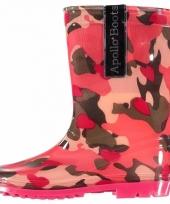 Voordelige meiden regenlaarzen roze camouflage trend