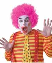 Voordelige roze clownspruik voor volwassenen trend