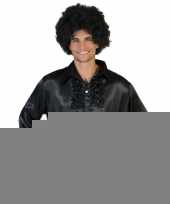Voordelige zwarte rouche blouse voor heren trend