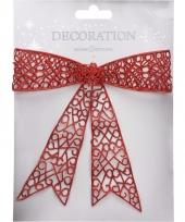Voordeur decoratie strik rood 36 cm trend