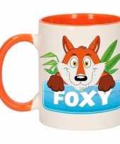 Vossen theebeker oranje wit foxy 300 ml trend