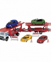 Vrachtwagen met auto op aanhanger speelgoed modelauto 1 60 trend