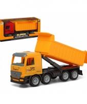 Vrachtwagen met container geel 40 x 16 cm trend