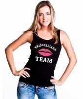 Vrijgezellenfeest team singlet-shirt tanktop zwart dames trend