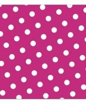 Vrolijke servetten roze met witte stippen trend