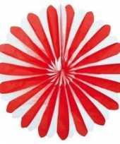 Waaier versiering rood wit 35 cm trend