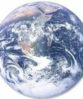 Wanddecoratie bord poster aarde globe 66 cm karton trend