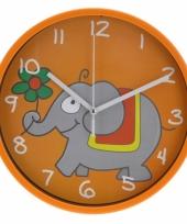 Wandklok olifant 23 cm oranje trend