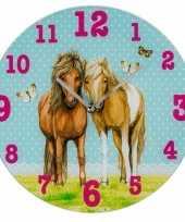 Wandklok paarden blauw 33 cm trend