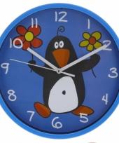 Wandklok pinguin 23 cm blauw trend