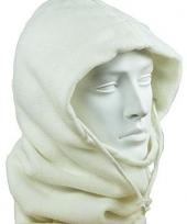 Warme fleece bivakmuts wit trend