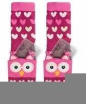 Warmte sokken roze uil voor kinderen trend