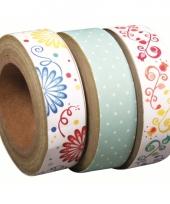 Washi tape set 3 rollen bloemenprint trend