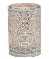 Waxinelicht theelicht houder zilver antiek 12 cm trend