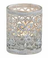 Waxinelicht theelicht houder zilver antiek 7 cm trend