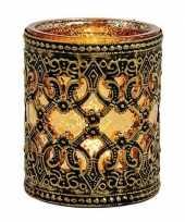 Waxinelicht theelicht houder zwart goud antiek 10 cm trend