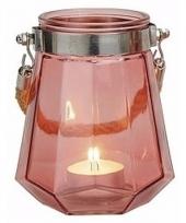 Waxinelichthouder windlicht oudroze 14 cm trend