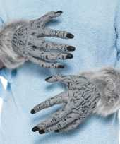 Weerwolf handschoenen grijs met nepbont voor volwassenen trend