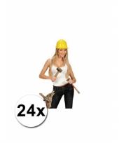 Werkhelmen geel volwassenen 24 st trend