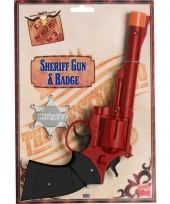 Western pistolen met zilveren badge trend