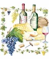 Wijn kaas print servetten 20 stuks trend