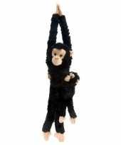 Wild republic pluche hangende aap zwart 43 cm trend