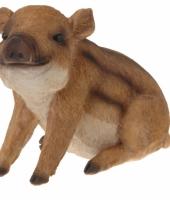 Wild zwijn beeldje zittend 21 cm trend