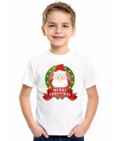 Wit kerst t-shirt voor kinderen met kerstman print trend