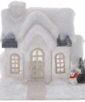 Wit kerstdorp huisje 20 cm type 1 met led verlichting trend