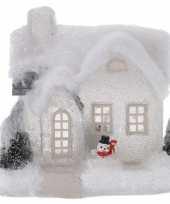 Wit kerstdorp huisje 20 cm type 3 met led verlichting trend