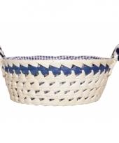 Wit met blauw broodmandje 25 cm trend