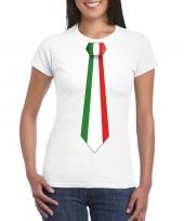 Wit t-shirt met italie vlag stropdas dames trend