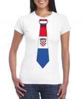 Wit t-shirt met kroatie vlag stropdas dames trend