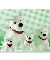 Wit terrier knuffeltje met zakdoek 21 cm trend